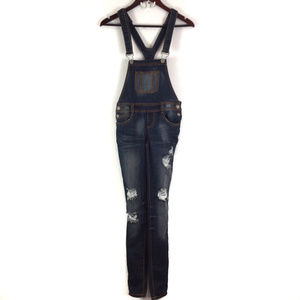 Almost Famous Dark Destroyed Skinny Overalls Jrs 1